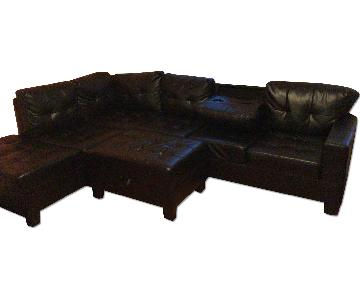 Innovative Home Creations Black Leather Sectional Sofa