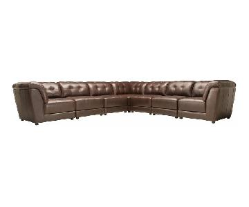 Raymour & Flanigan 7-Piece Leather Sectional SOfa