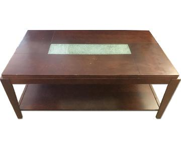 Wooden Coffee Table w/ Glass Detail
