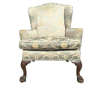 Antique Silk Upholstered Wingback Chair w/ Claw Feet