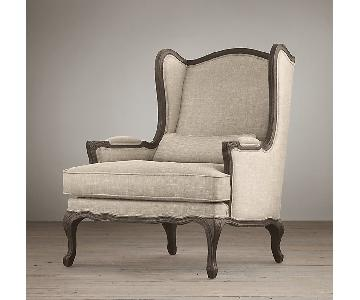 Restoration Hardware Lorraine Wingback Sand Linen Chair