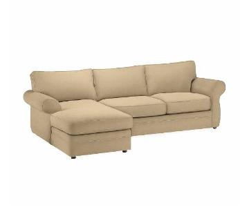 Pottery Barn 2 Piece Microsuede Sectional Sofa