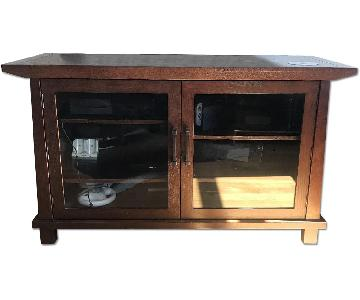 Crate & Barrel Wood Media Console /TV Stand w/ Glass Doors