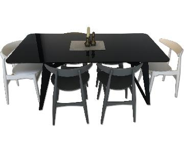 Modern Black Glass Top Dining Table w/ 6 Chairs