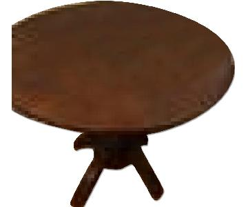 Anthropologie Wood Drop-Leaf Round Dining Table
