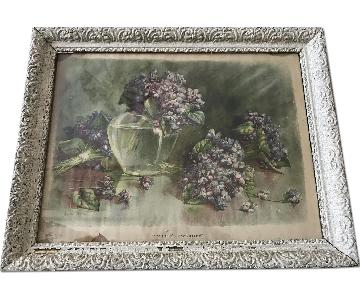 Vintage Lilac Print in Ornate Frame
