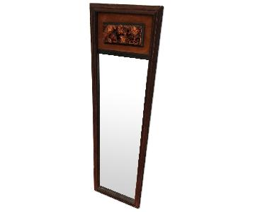 Antique Wood & Gold/Bronze Framed Floor Mirror