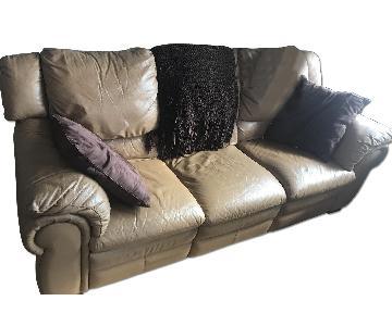 Contempo Top Grain Leather Dual-Recliner Sofa in Taupe
