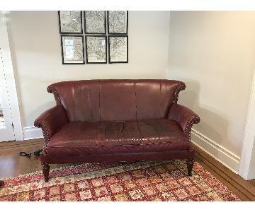 Century Furniture Merlot Leather Sofa w/ Nailheads