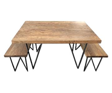 CB2 Dylan Table w/ 2 Benches
