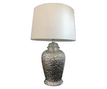 West Elm Ceramic Silver Table Lamp w/ Cream Shade