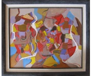 Modernist Stretched Acrylic Art on Canvas