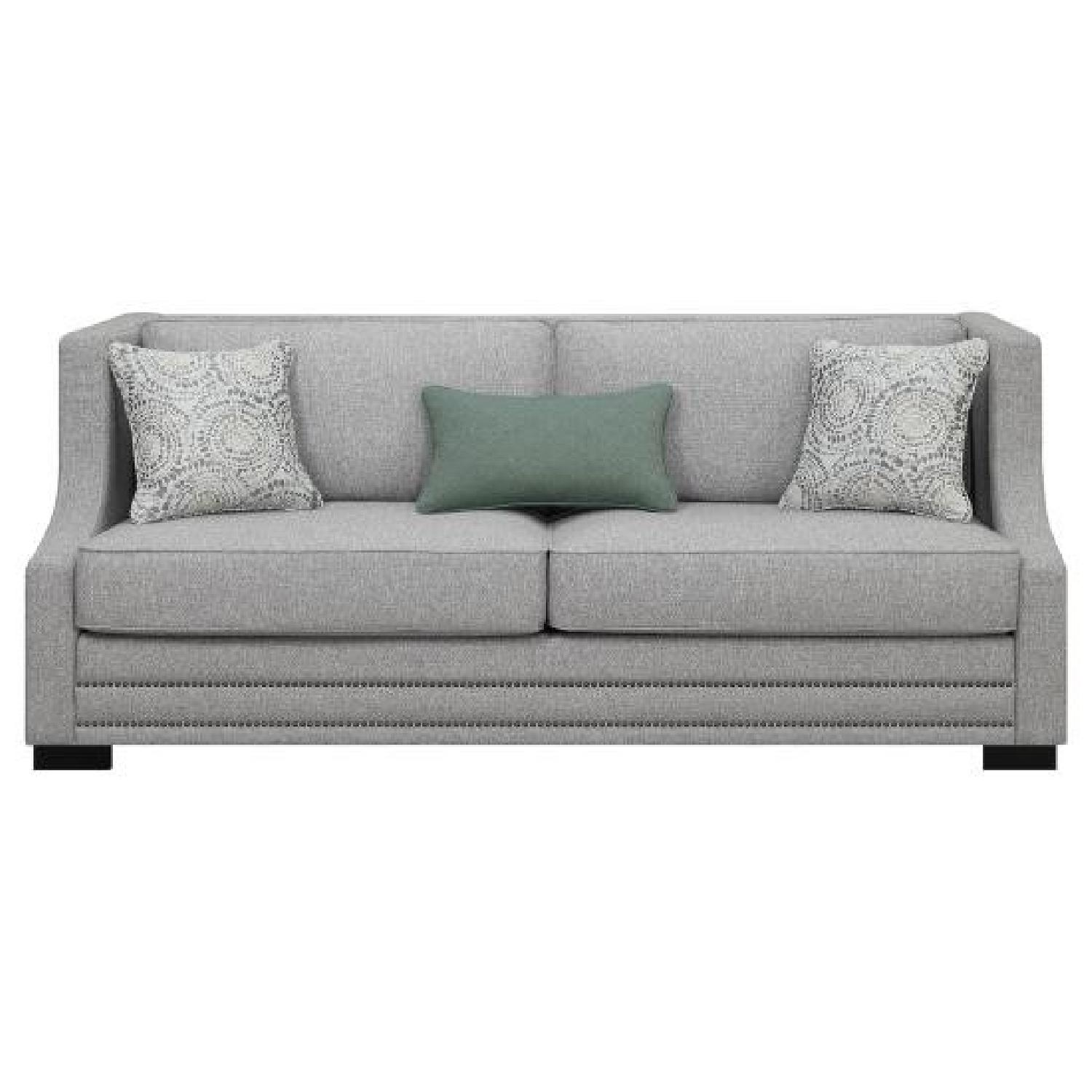 Light Grey Fabric Sofa w/ Square Frame & Sloping Arms