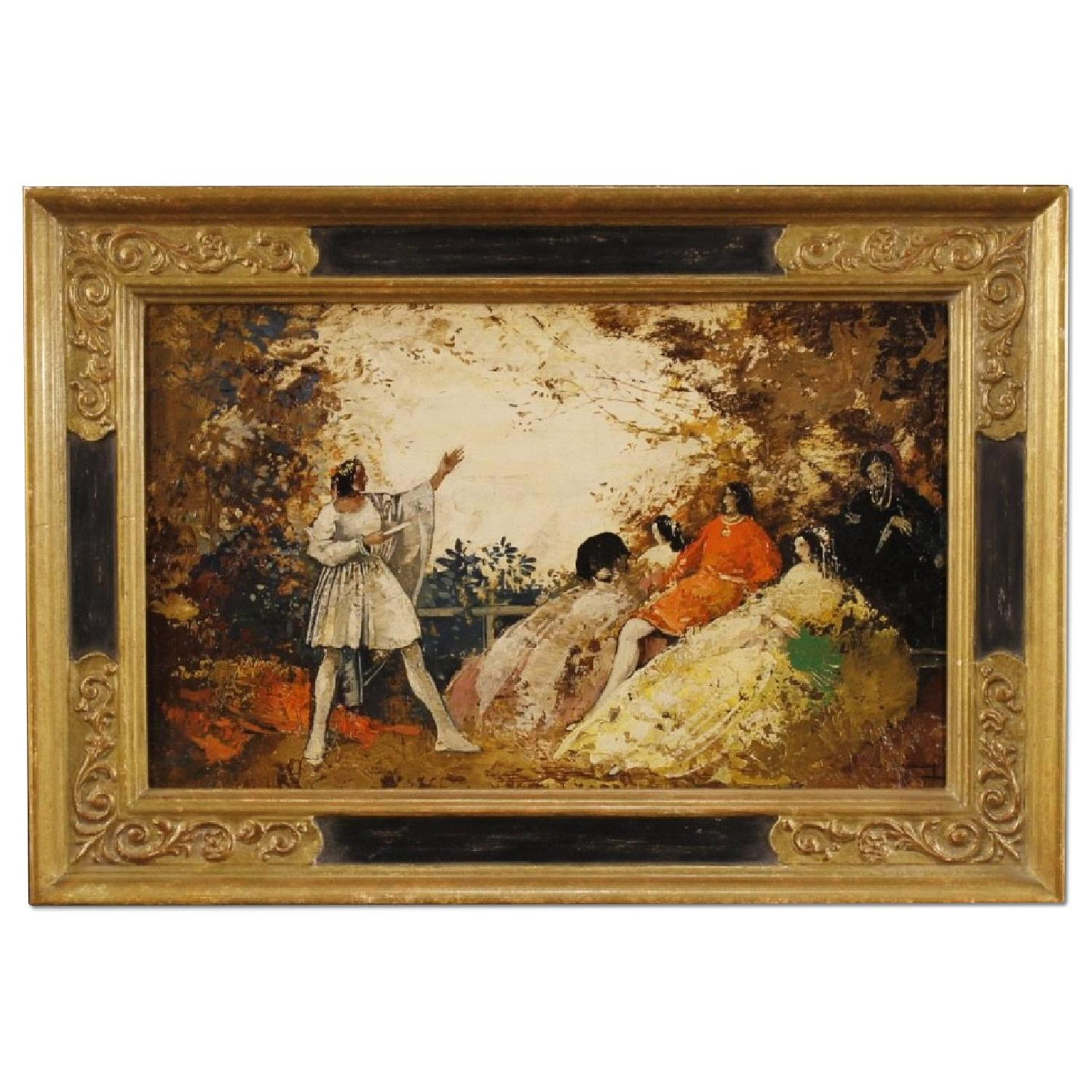 French Signed Romantic Landscape Painting w/ Characters