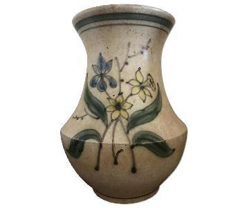 Rustic Earthenware Vase w/ Floral Design
