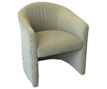 Curved Back Modern Club Chair in Sea Green