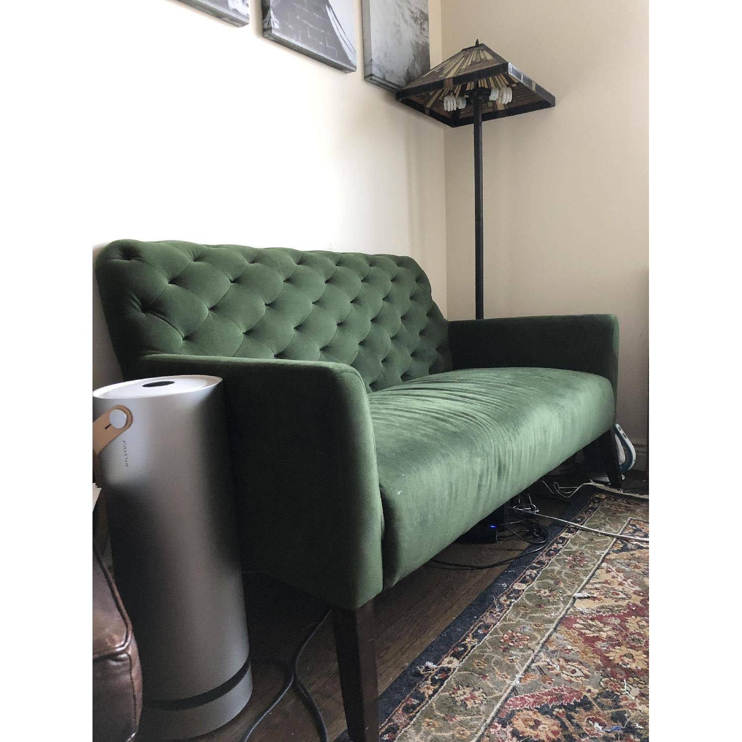 ... West Elm Velvet Setee Couch In Moss 0 ...