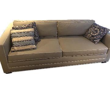 Crate & Barrel Grey Sofa w/ White Piping