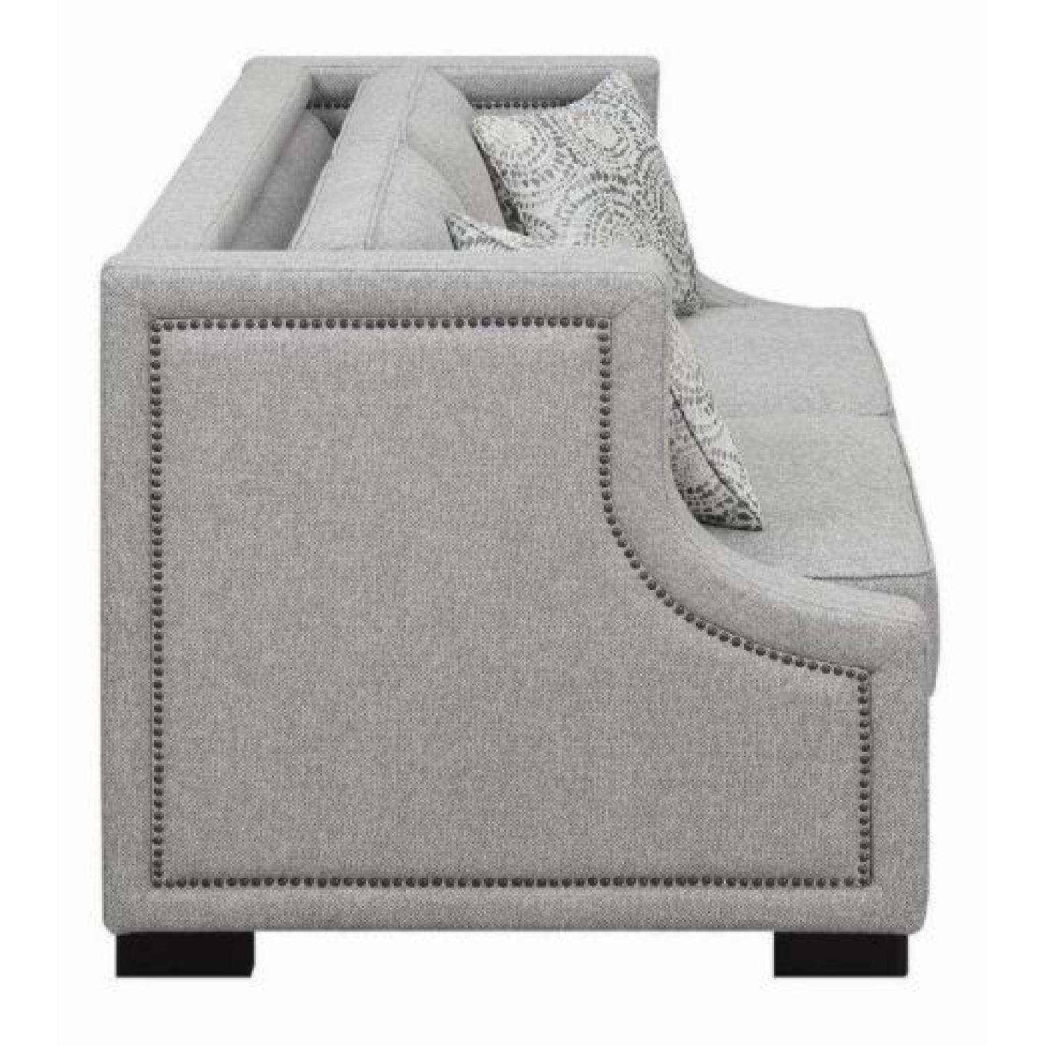Light Grey Fabric Loveseat W Square Frame Amp Sloping Arms
