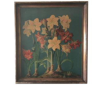 Vintage W.Gasch Amaryllis Print in Wood Frame
