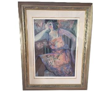 Barbara A. Wood Signed Serigraph - Blue Sash