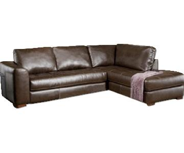 Dark Brown Leather 2-Piece Sectional Sofa
