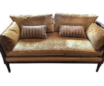 Greenbaums Art Deco Velvet Sofa
