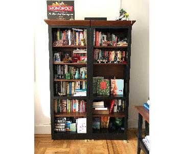 Ethan Allen Bookcase in Black & Walnut