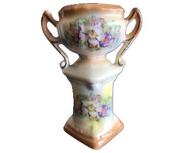 Vintage Czech Floral Pedestal Vase