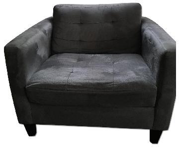 Macy's Grey Microsuede Armchair