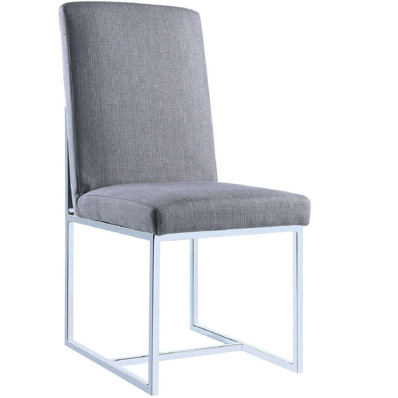 Modern Dining Chair w/ Chrome Legs & Soft Grey Cover