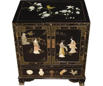 French Lacquered Chinoiserie Bedside Table