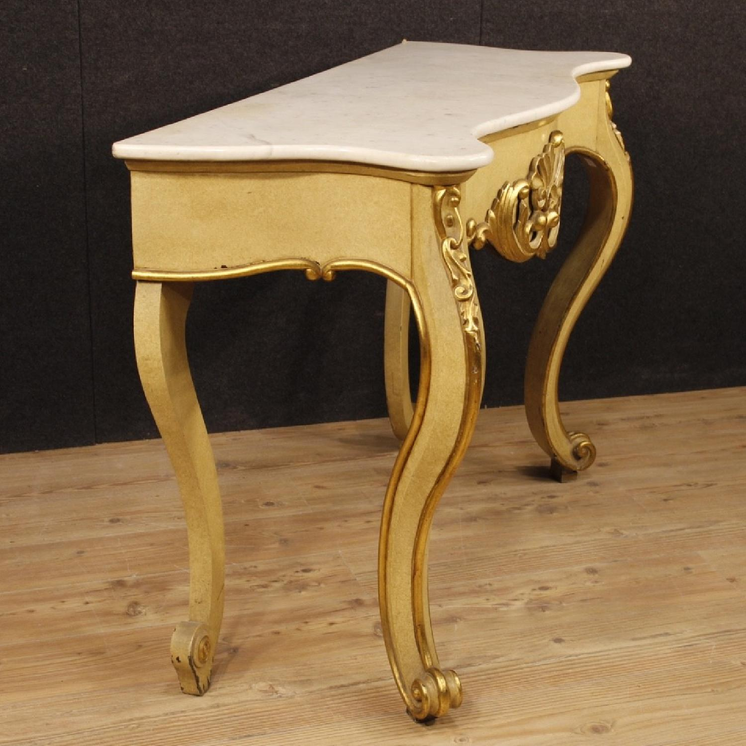 ... Italian Console Table In Lacquered Gilt Wood W/ Marble Top 0 ...