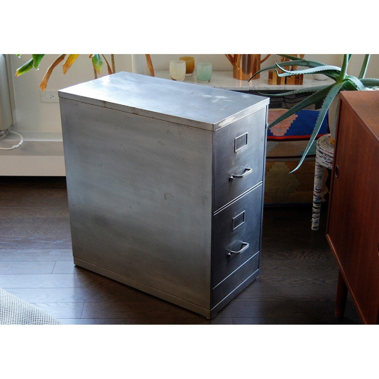 Industrial Brushed Steel Double Drawer Storage File Cabinet ...
