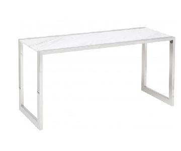 Nuevo Living White Marble & Stainless Steel Table/Desk