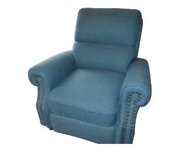 Teal Blue Fabric Recliner Chair