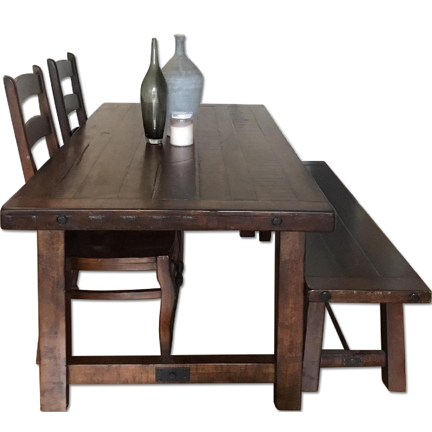 Pottery Barn Rae Rustic Wood Bistro Table W Chairs AptDeco - Pottery barn benchwright end table