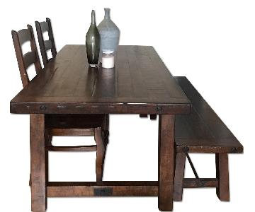 Pottery Barn Benchwright Dining Table w/ 1 Bench & 2 Chairs