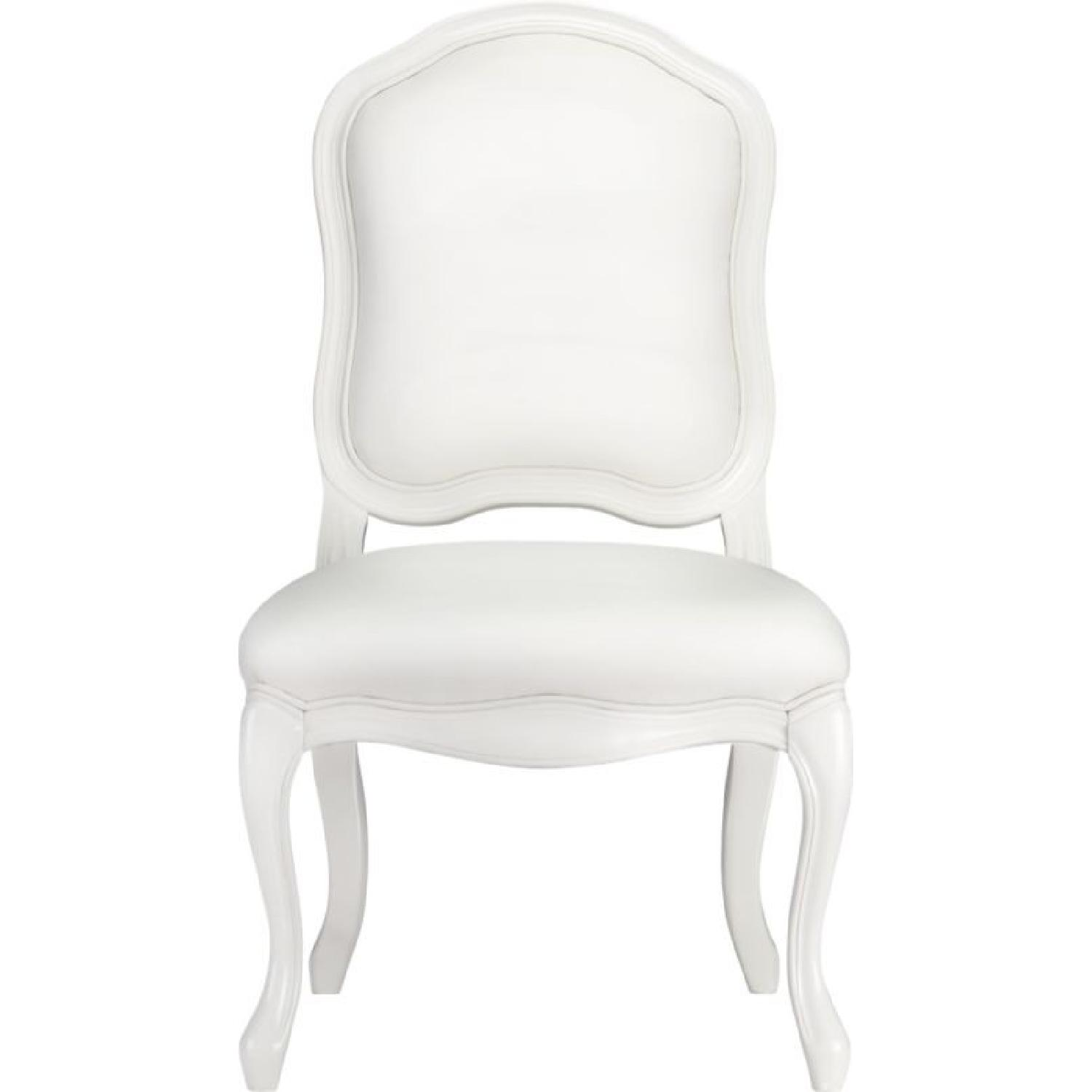 CB2 White Leather French Style Desk/Dining Chair ...