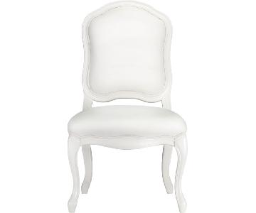 CB2 White Leather French Style Desk/Dining Chair