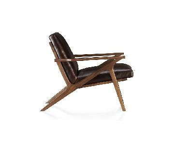 Crate & Barrel Cavett Leather Wood Frame Chair