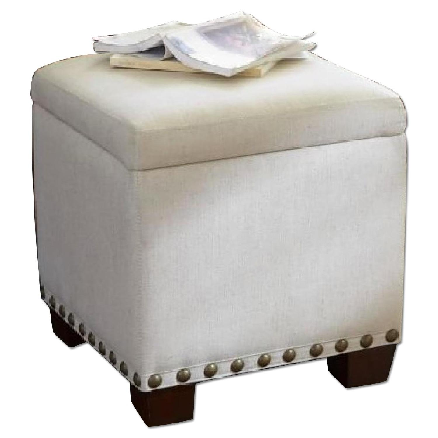 Pottery Barn Raleigh Upholstered Storage Cube With Nailhead AptDeco