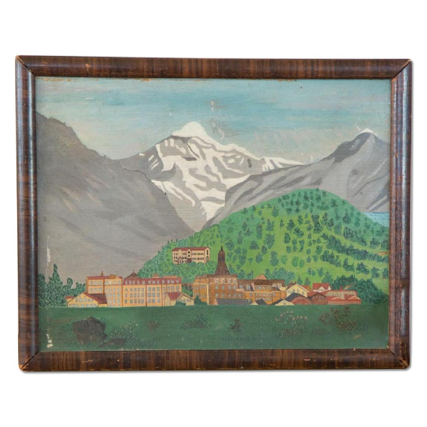 Old New House Antique Folk Art Landscape Oil Painting