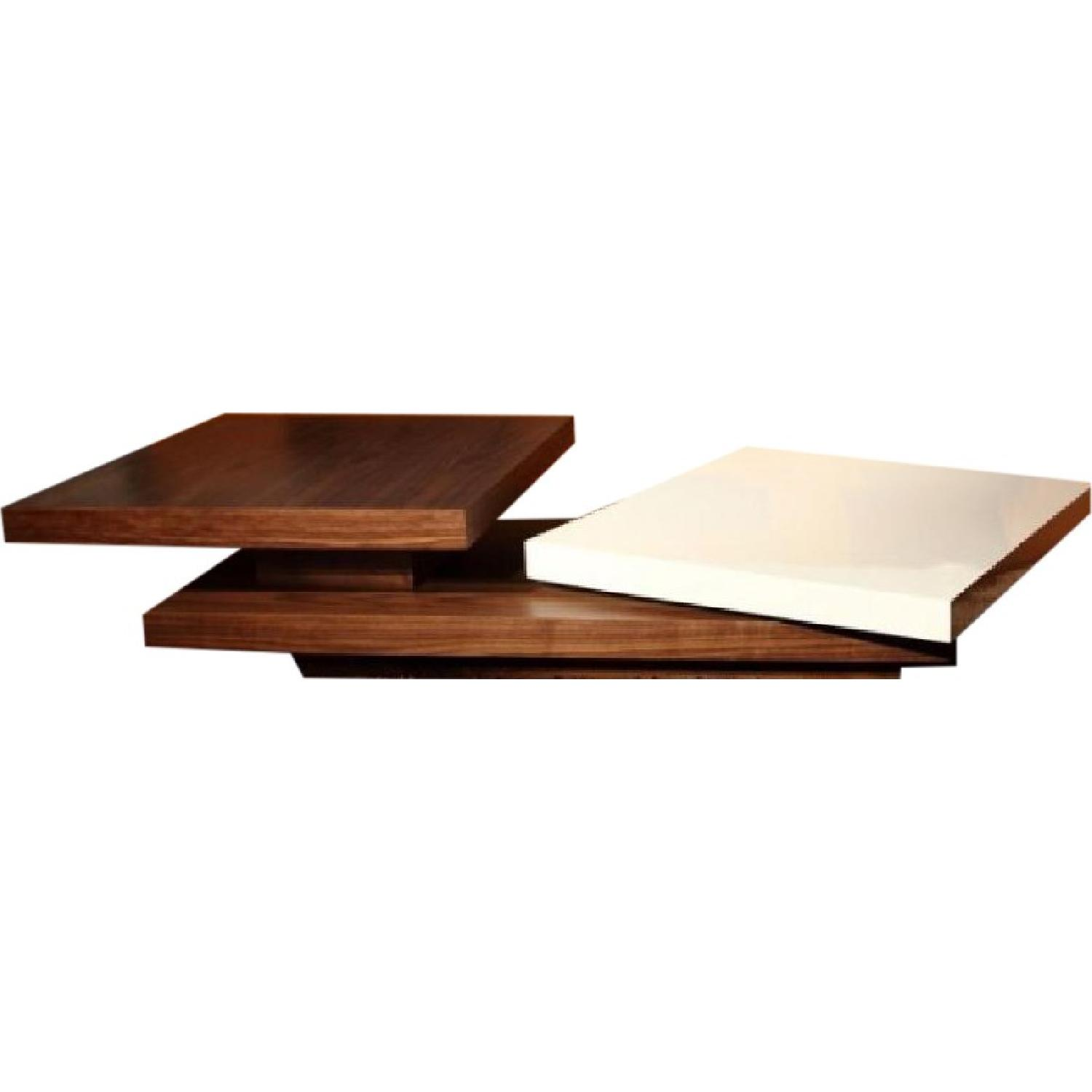 Contemporary Motion Coffee Table In Walnut And White Gloss Finish Aptdeco