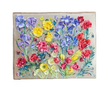 Old New House Vintage Handmade 3D Flower Art
