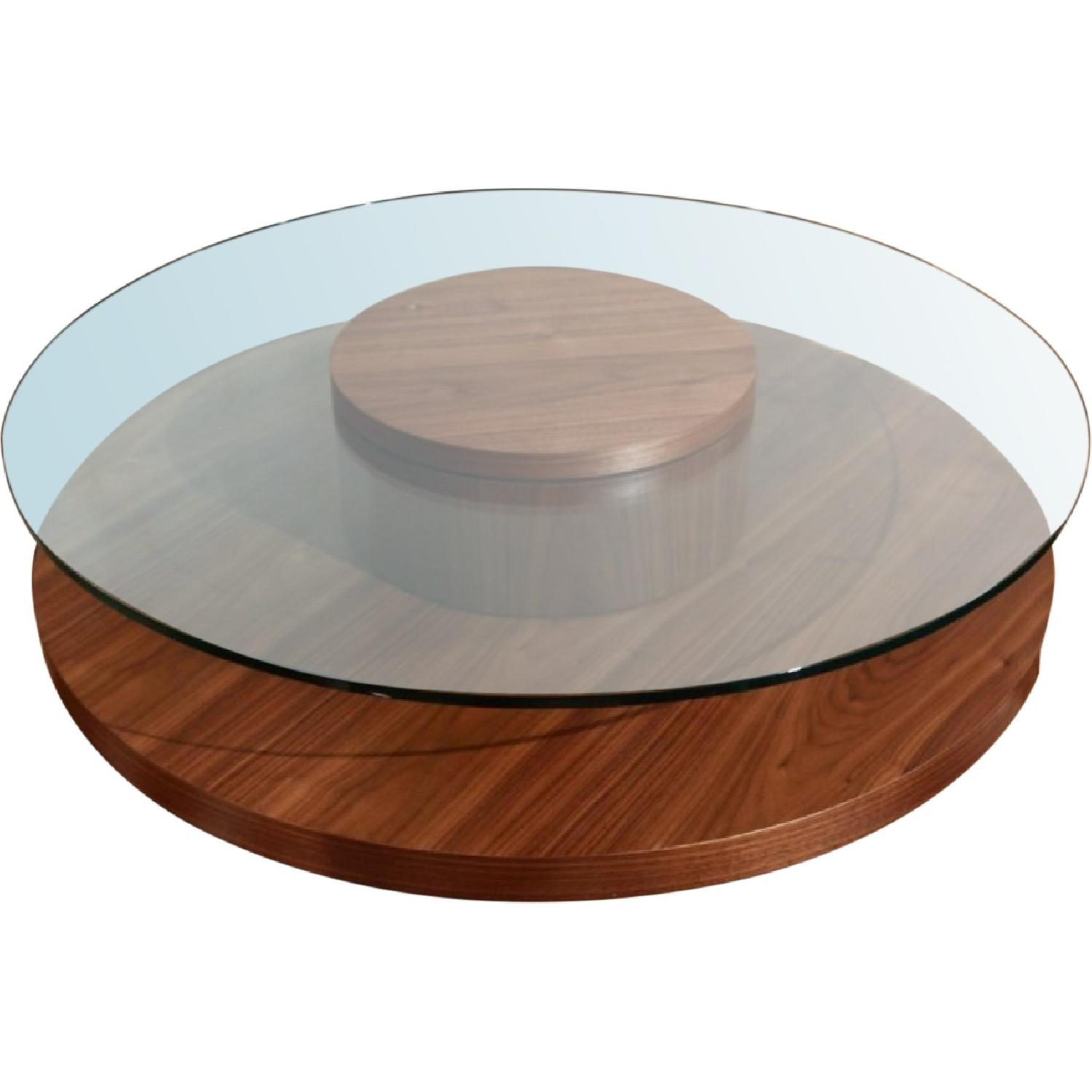 Contemporary Round Coffee Table in Walnut w/ Rotating Glass Top