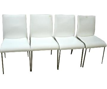 Chairs Dining Chairs in White Leather w/ Metal legs - Set of 4
