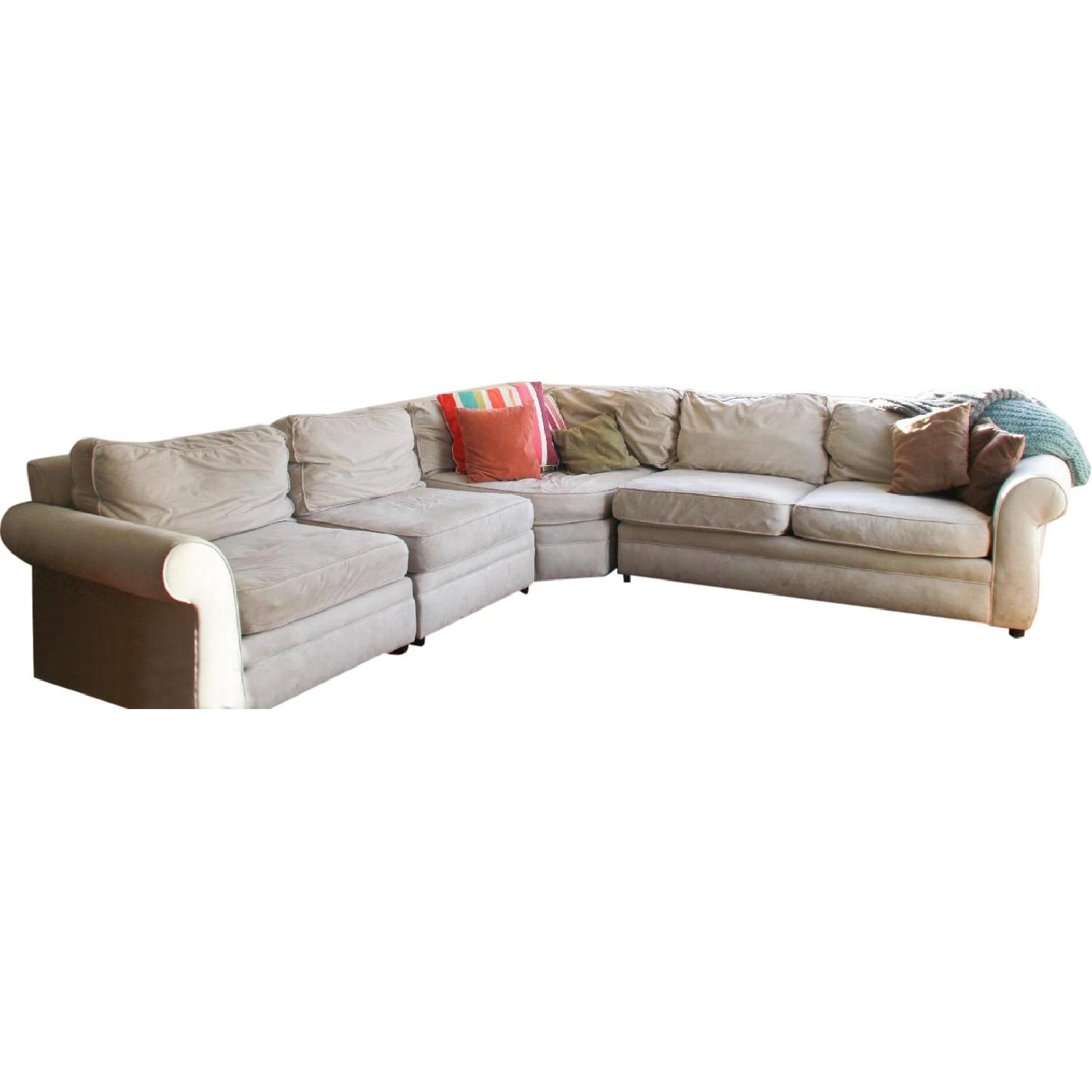 Picture of: Pottery Barn Pearce Upholstered 3 Piece L Shaped Sectional W Wedge Aptdeco