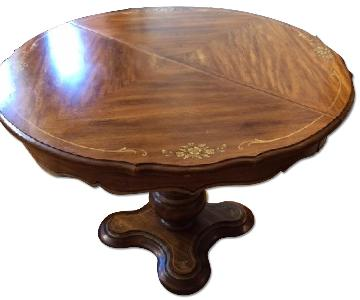 Round Painted Dining Table w/ Extension Leaves