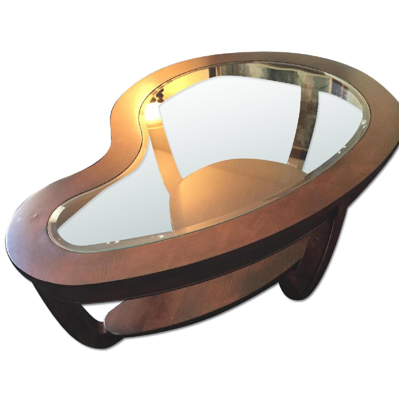 Solid Cherry Wood W Glass Top Coffee Table Aptdeco
